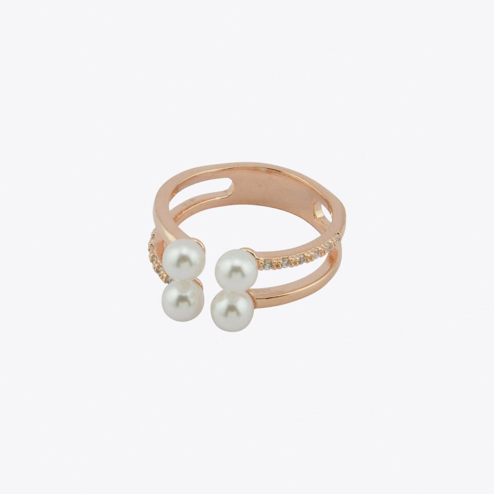 Pearl Cubic Ring in Rose Gold