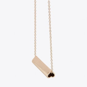 Heart Bar Necklace in Rose Gold