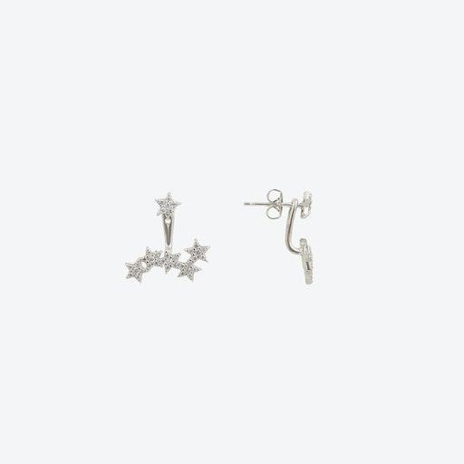 Starburst Two Way Earrings in Rhodium