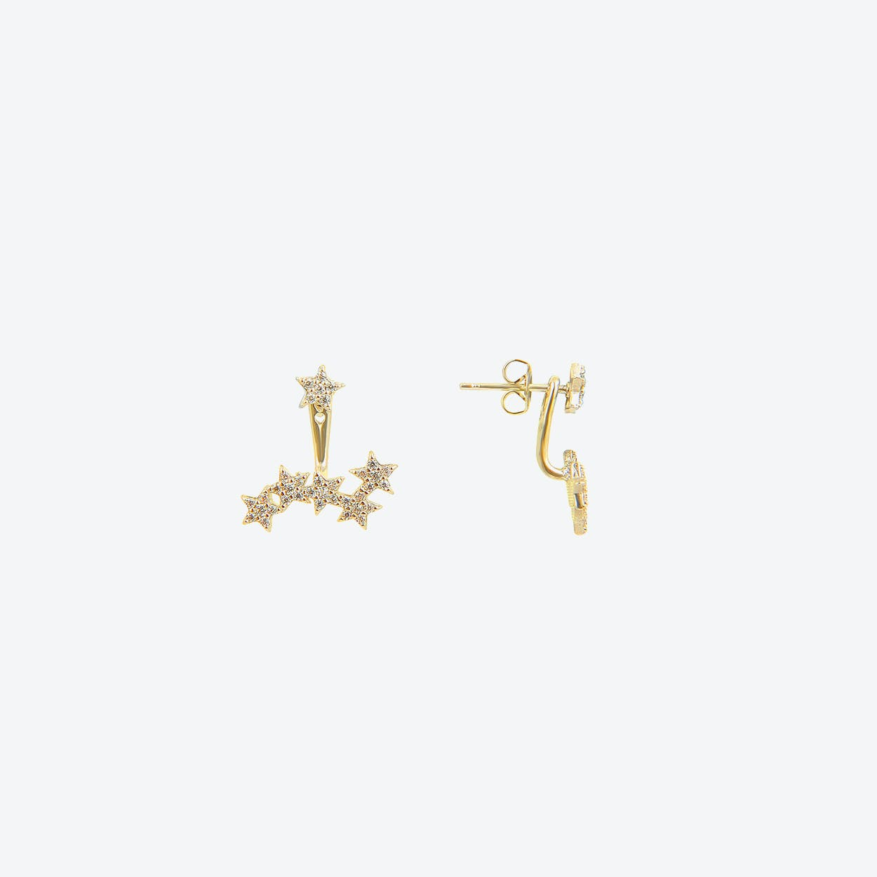 Starburst Two Way Earrings in Gold