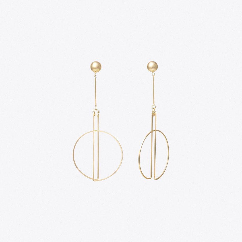 Ball And Drop Circle Earrings
