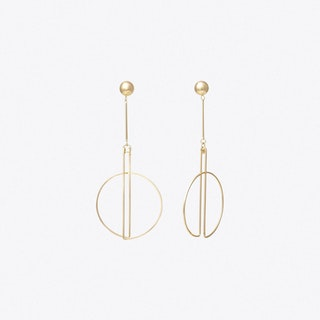 Ball And Drop Circle Earrings