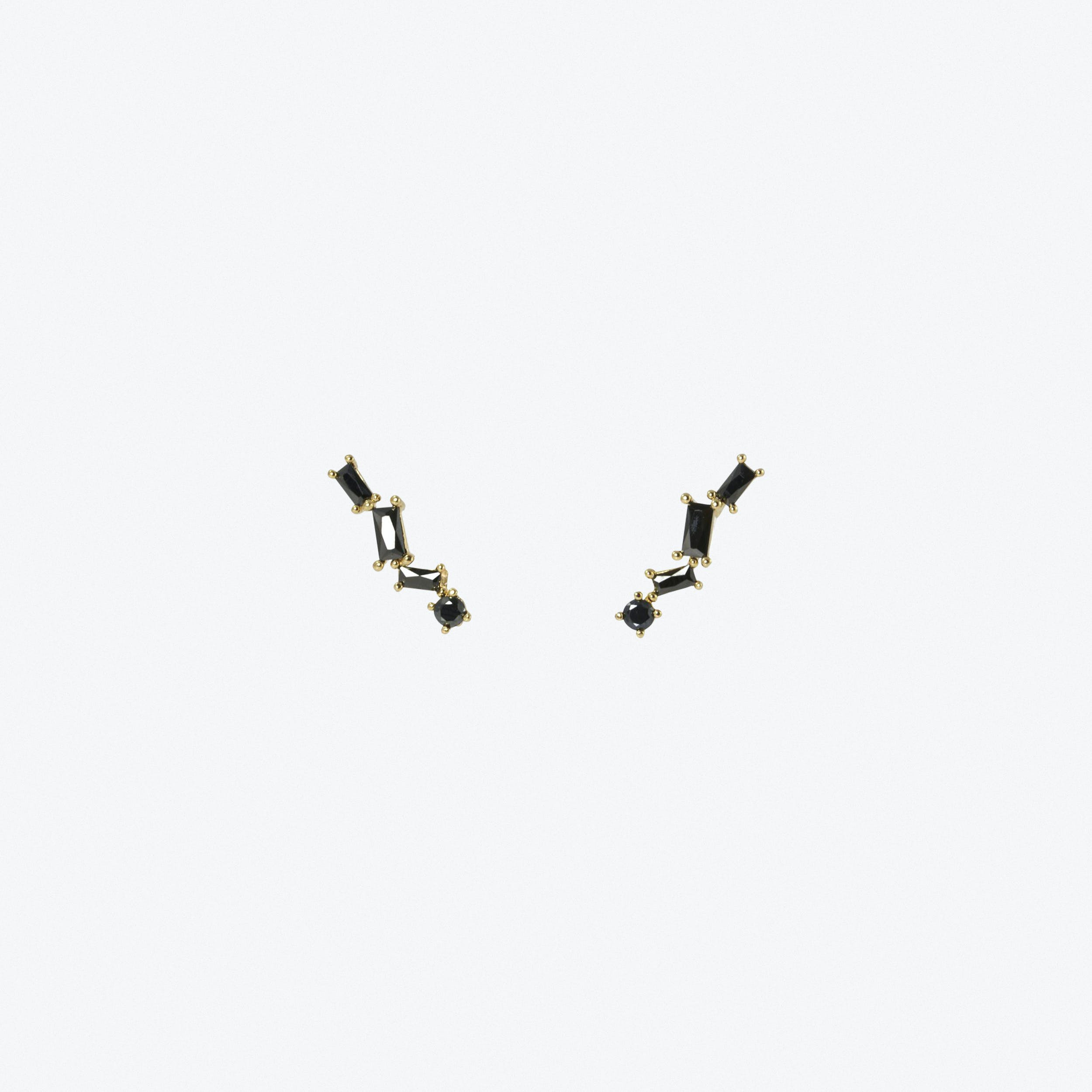 Black Stone Climber Earrings In Gold