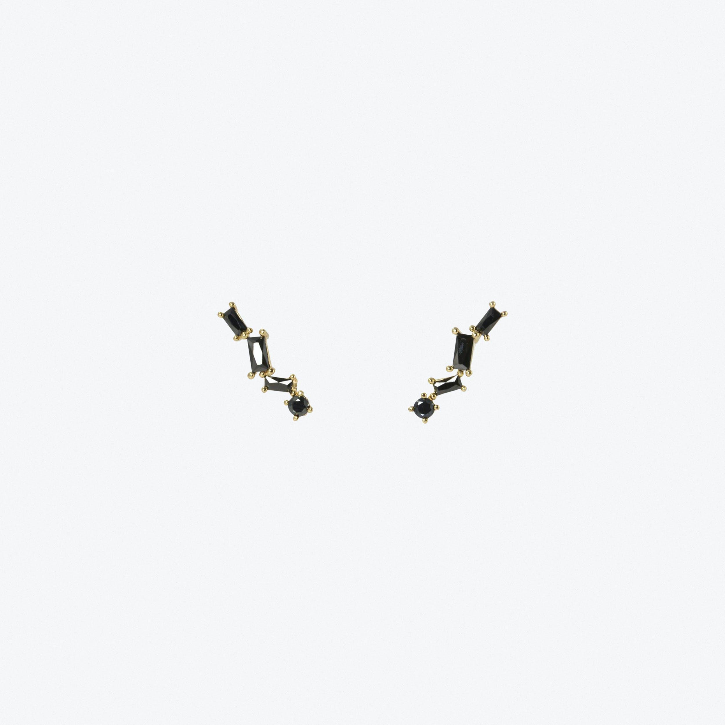 Black Stone Climber Earrings In Gold
