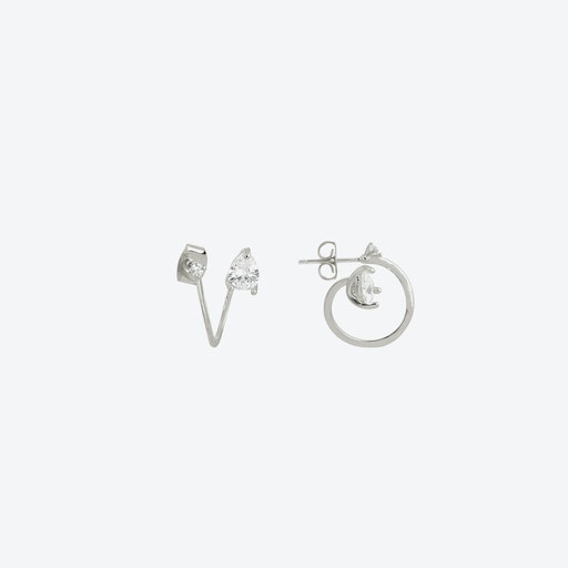 Coiled Teardrop Stud Earrings in White Gold