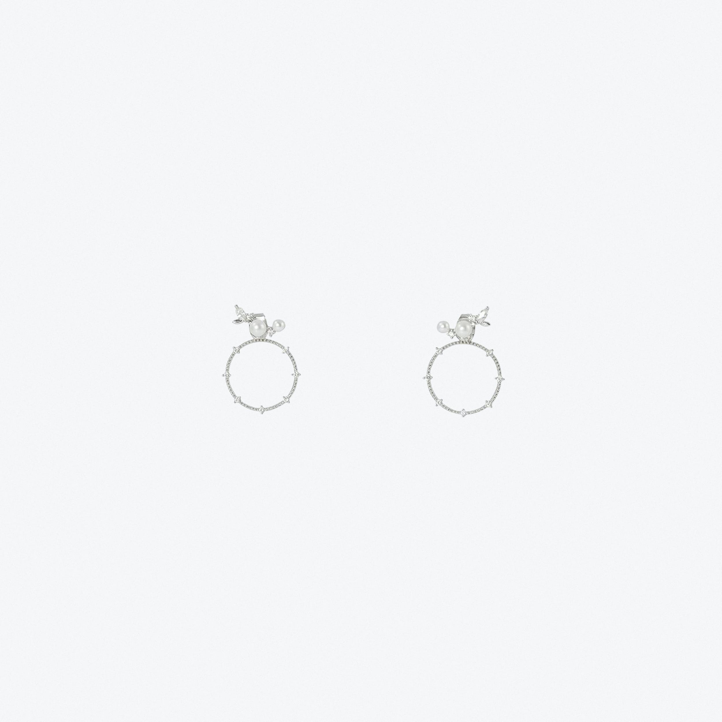 Mini Climber Two Way pearl Earrings In White Gold
