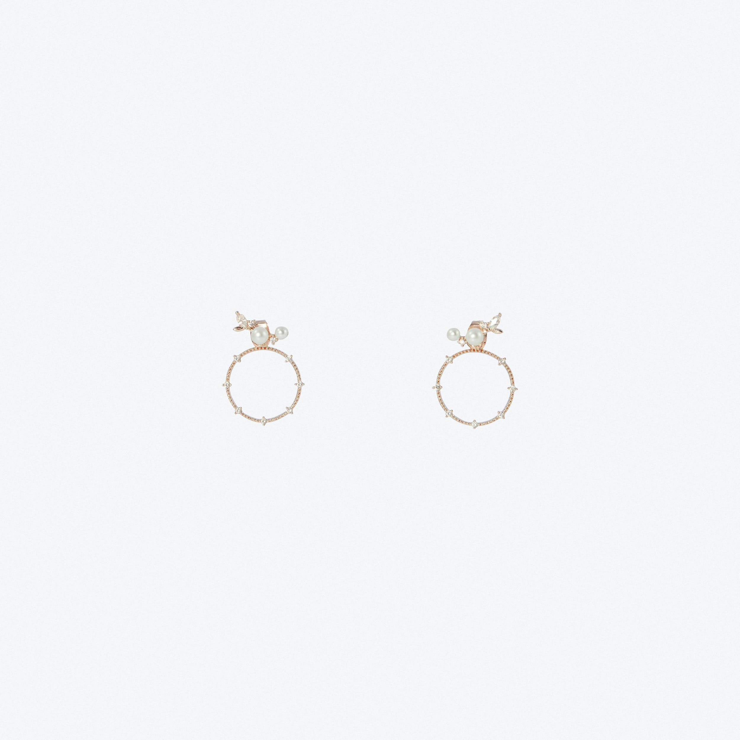 Mini Climber Two Way pearl Earrings In Rose Gold