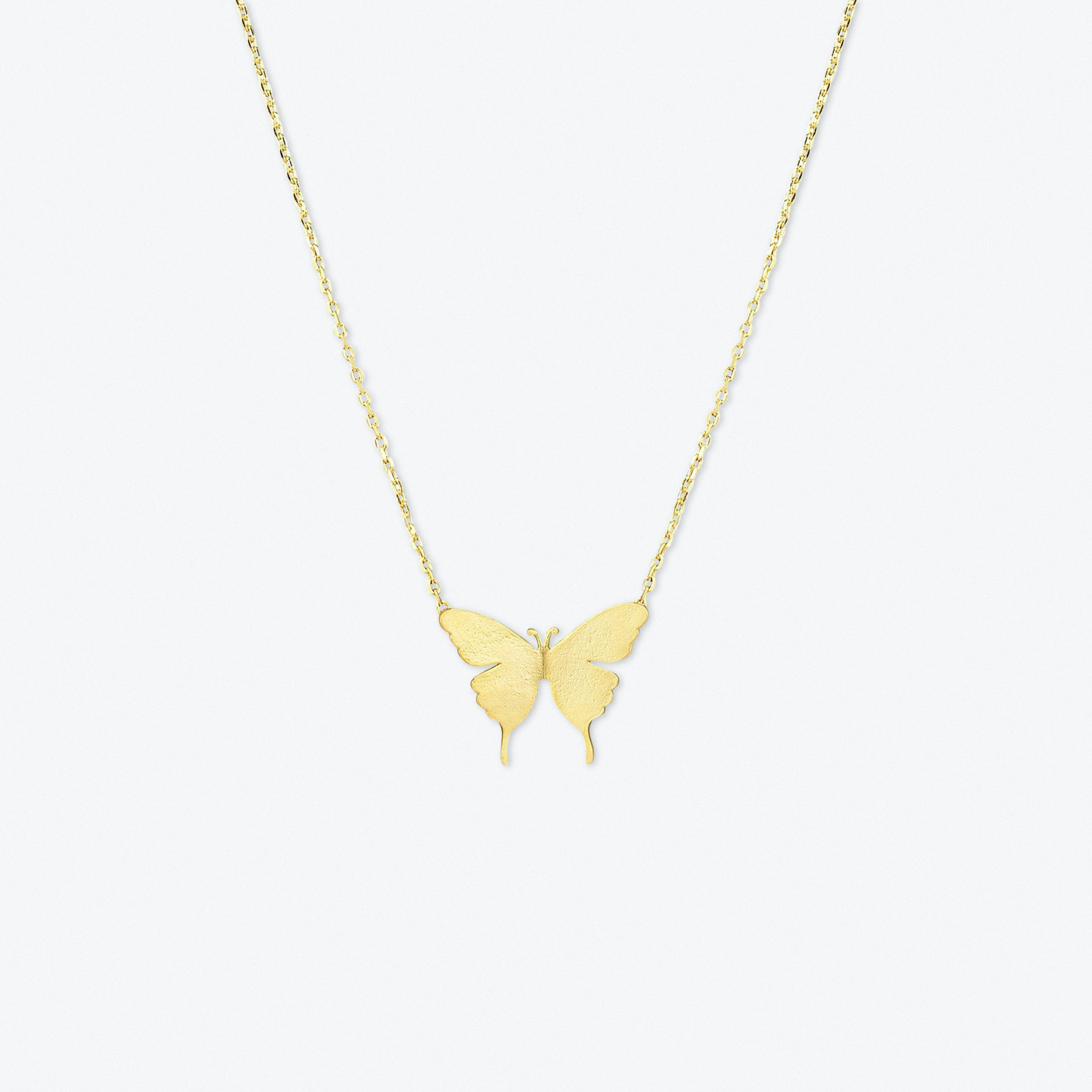 Delicate Butterfly Pendant Necklace In Gold