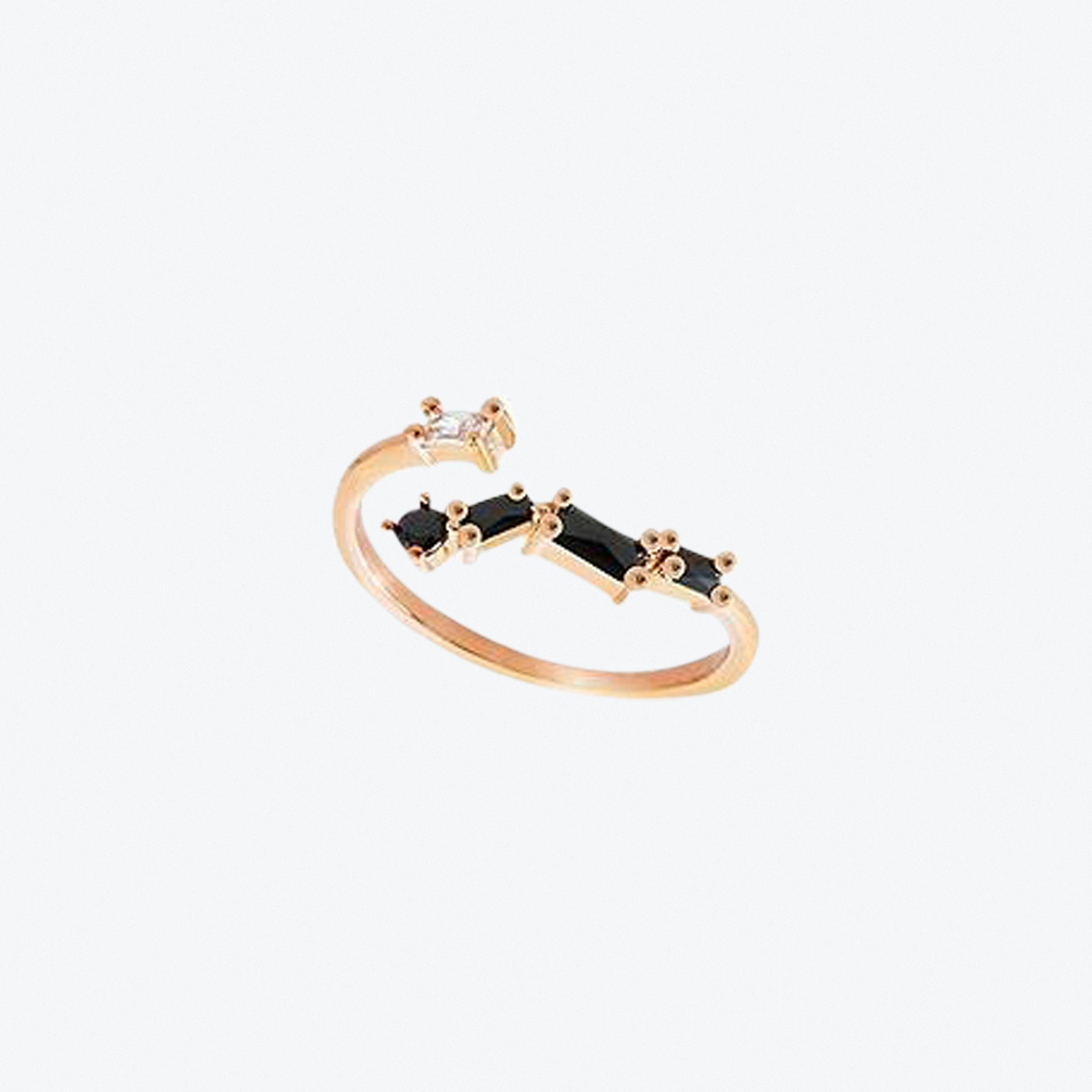 Black Stone Ring In Rose Gold