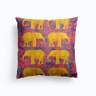 Golden Elephants Canvas Cushion