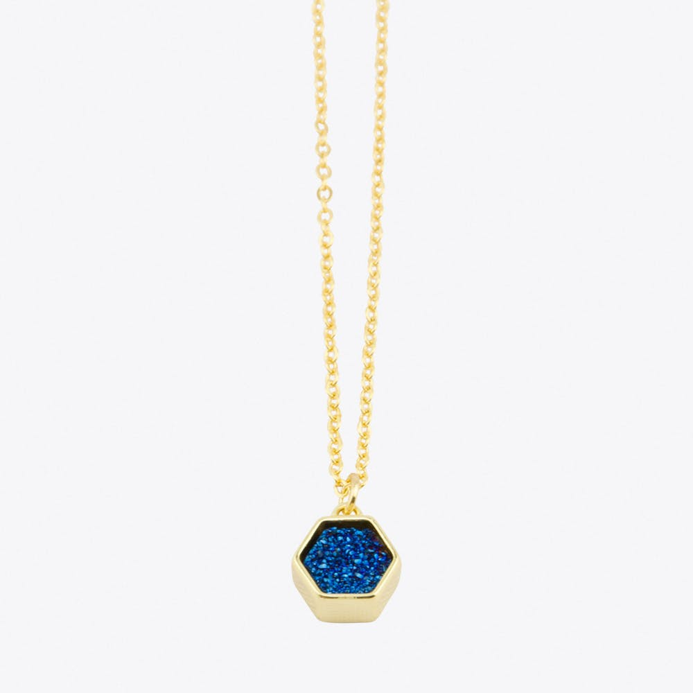 Hexagon Druzy Necklace in Blue