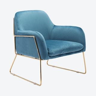 Nadir Arm Chair - Blue / Gold