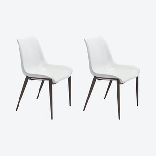 Magnus Dining Chairs - White / Walnut  - Velvet - Set of 2