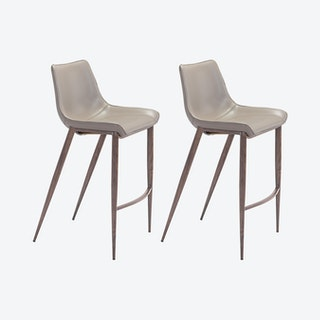 Magnus Bar Chairs - Grey / Walnut  - Velvet - Set of 2