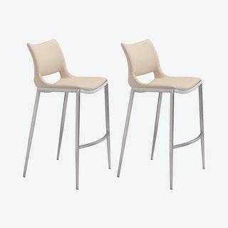 Ace Bar Chairs - Light Pink / Silver  - Velvet - Set of 2