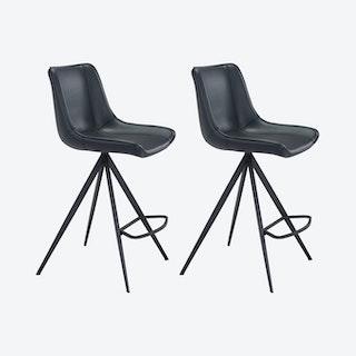 Aki Counter Chairs - Black  - Velvet - Set of 2