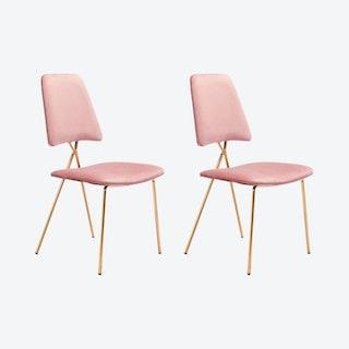 Chloe Dining Chairs - Pink / Gold  - Velvet - Set of 2