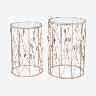 Sage Side Tables - Clear / Gold  - Velvet - Set of 2