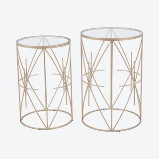 Hadrian Side Tables - Clear / Gold  - Velvet - Set of 2