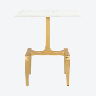 Clement Side Table - White / Gold