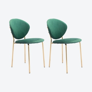 Clyde Dining Chairs - Green / Gold  - Velvet - Set of 2