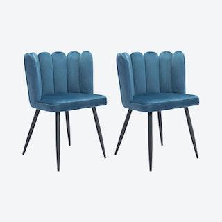 Adele Dining Chairs - Blue  - Velvet - Set of 2