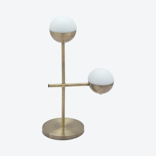 Waterloo Table Lamp - White / Brushed Bronze
