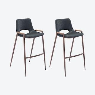 Desi Bar Chairs - Black  - Velvet - Set of 2