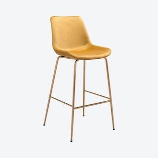 Tony Bar Chair - Yellow / Gold - Velvet