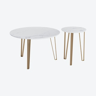 Caen Accent Tables - White - Set of 2