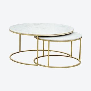 Daniel Nesting Coffee Tables - Brass - Set of 2