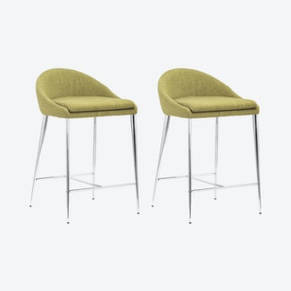 Reykjavik Counter Chairs - Pea Green - Set of 2
