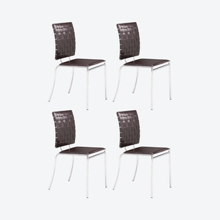 Criss Cross Dining Chairs - Espresso - Set of 4