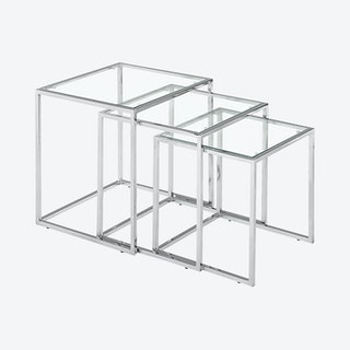 Pasos Nesting Tables - Chrome - Set of 3