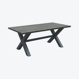 Bodega Outdoor Dining Table - Industrial Grey / Brown