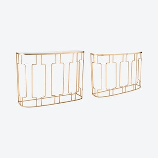Roma Console Tables - Gold - Set of 2