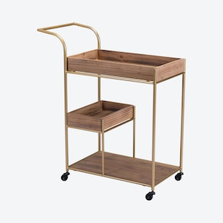 Bar Cart with Tray - Brown / Gold