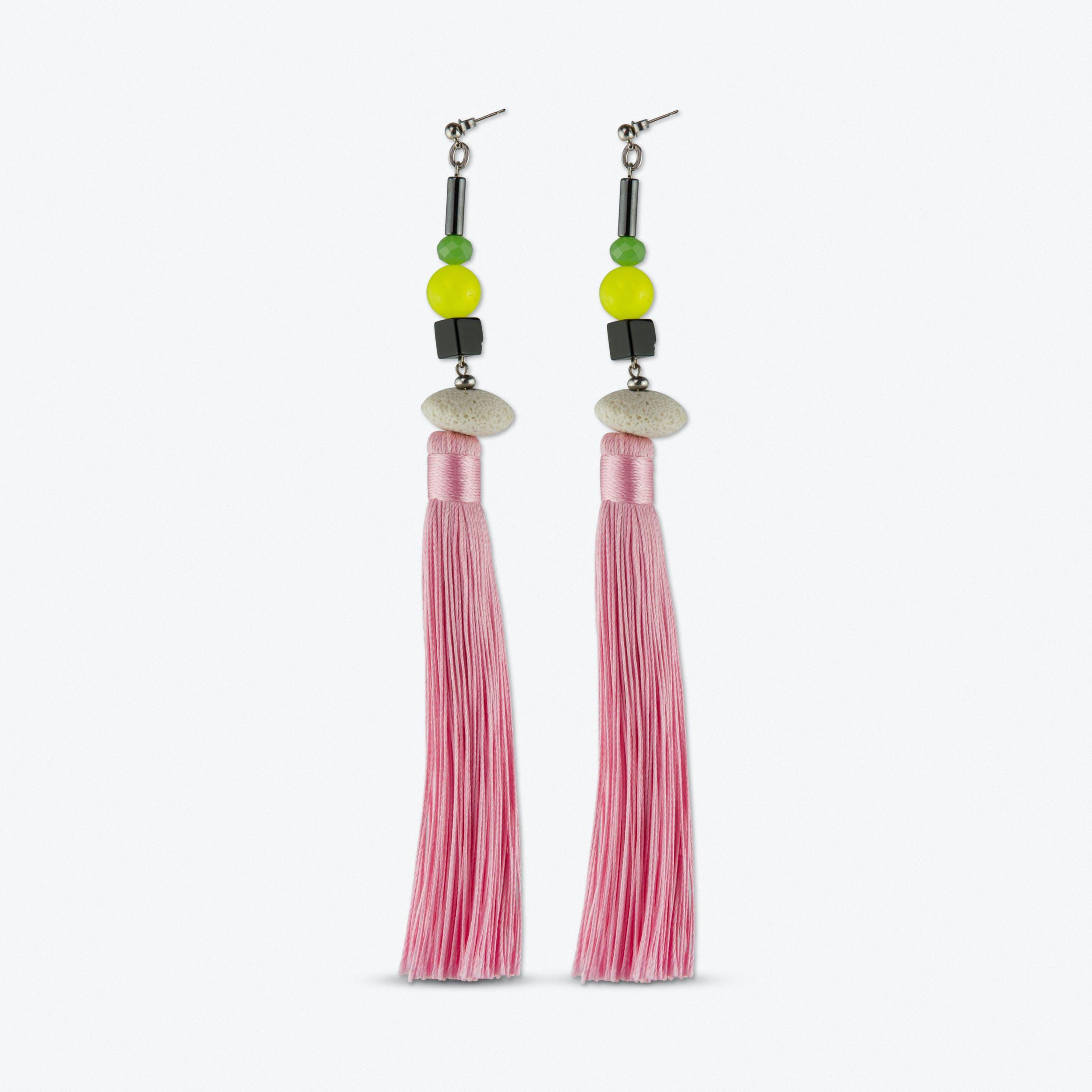 Blushy Pink Tassel Earrings