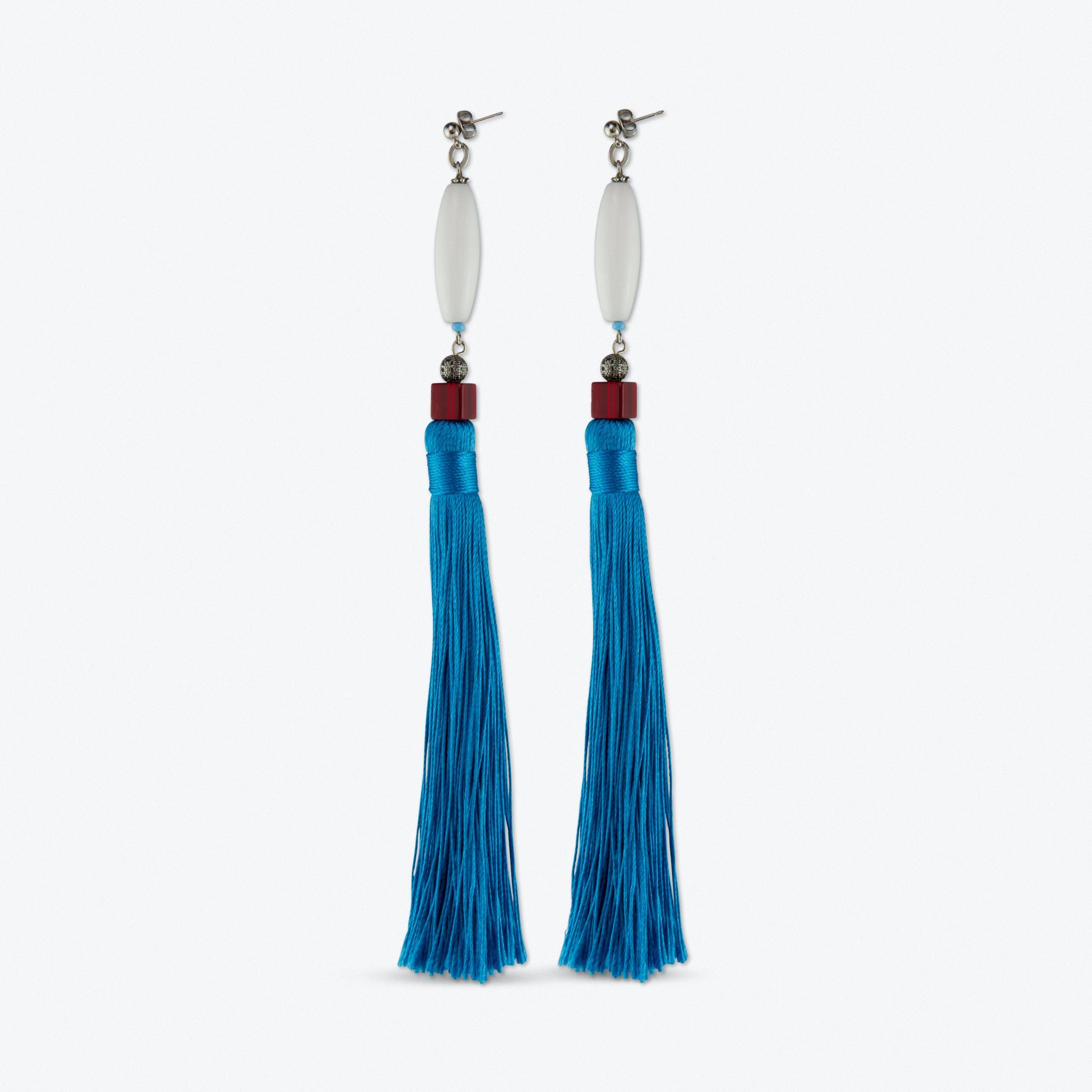 White Stone and Blue Tassel Earrings