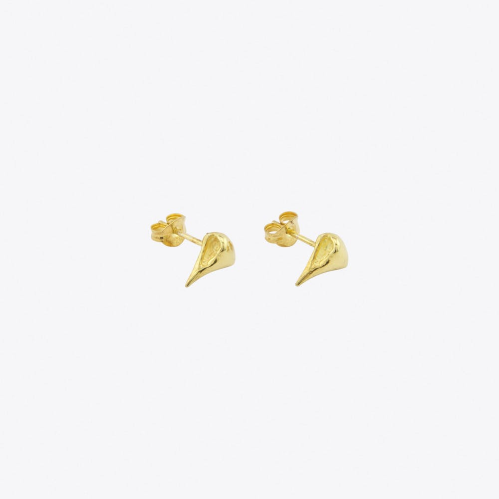 Raven Skull Earrings in Gold