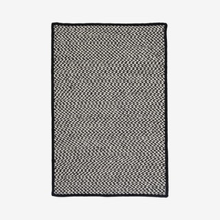 Outdoor Houndstooth Rectangle Area Rug - Black