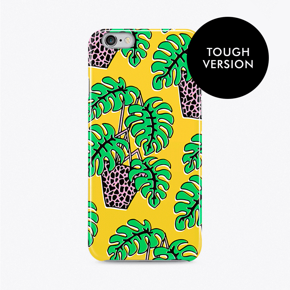Potted Palm on Yellow Tough Phone Case