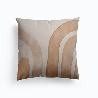 Abstract Lines On Beige Canvas Cushion