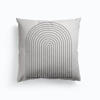 Monochrome Geometric Arches Canvas Cushion