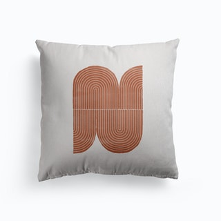 Terracotta Geometric Object Canvas Cushion