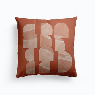 Geometric Object On Terracotta Canvas Cushion