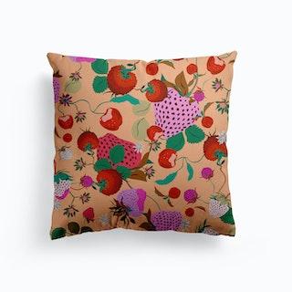 Vintage Strawberries Canvas Cushion