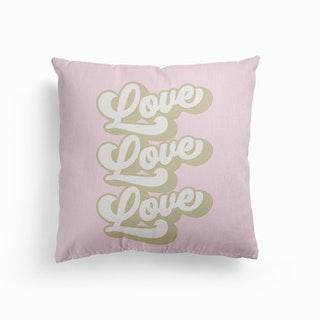 Love Love Love Retro Pastel Pink Canvas Cushion