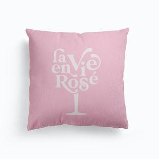 La Vie En Rosé Wine Glass Pastel Pink Canvas Cushion