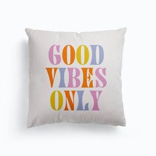 Good Vibes Only Retro Colours Canvas Cushion